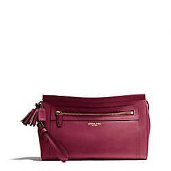COACH F48021 Leather Large Clutch BRASS/DEEP PORT