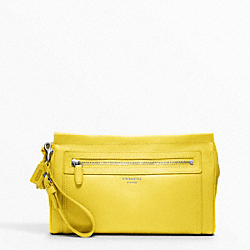 LARGE LEATHER CLUTCH - f48021 - SILVER/LEMON