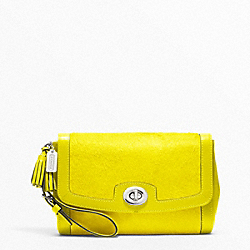 COACH F48042 Pinnacle Large Flap Clutch SILVER/BRIGHT CITRINE