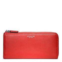 COACH F48178 Leather Slim Zip Wallet SILVER/CARNELIGHT GOLDAN