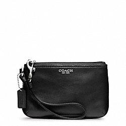 COACH F48179 Leather Small Wristlet SILVER/BLACK
