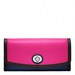 COACH F48182 Colorblock Slim Envelope SILVER/FUCHSIA MULTICOLOR