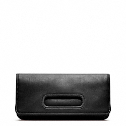 LEATHER FOLD OVER CLUTCH - f48406 - SILVER/BLACK