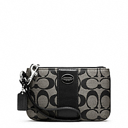 COACH F48435 Small Wristlet In Signature Fabric  SILVER/BLACK/WHITE/BLACK