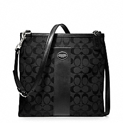 COACH F48446 - LARGE SWINGPACK IN SIGNATURE FABRIC SILVER/BLACK/BLACK