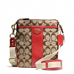 COACH F48452 Signature Swingpack BRASS/KHAKI/RED