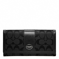 COACH F48462 Signature Slim Envelope SILVER/BLACK/BLACK