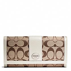 COACH F48462 Signature Slim Envelope Wallet SILVER/KHAKI/PARCHMENT