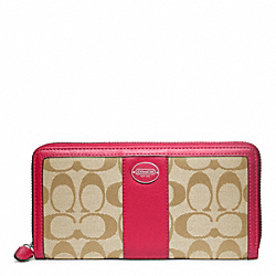 COACH F48463 Signature Accordion Zip Wallet SILVER/LT KHAKI/PINK SCARLET