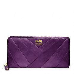 COACH F48487 Madison Diagonal Pleated Patent Accordion Zip Wallet BRASS/VIOLET