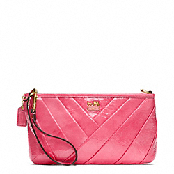 COACH F48522 Madison Diagonal Pleated Patent Large Wristlet