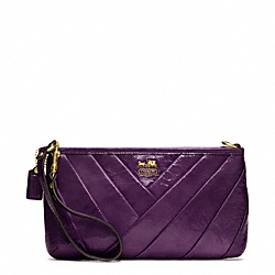 COACH F48522 Madison Diagonal Pleated Patent Large Wristlet BRASS/VIOLET