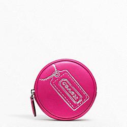 COACH F48558 Motif Round Coin Purse SILVER/FUCHSIA