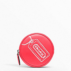COACH F48558 Motif Round Coin Purse SILVER/WATERMELON