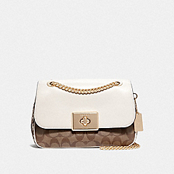 CASSIDY CROSSBODY IN SIGNATURE CANVAS - F48620 - KHAKI MULTI /IMITATION GOLD