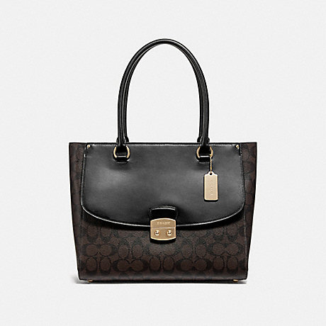 COACH F48630 AVARY TOTE IN SIGNATURE CANVAS<br>蔻驰AVARY手在签名画布 棕黑色,仿金