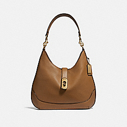 AMBER HOBO - F48635 - LIGHT SADDLE/IMITATION GOLD