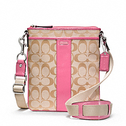 COACH F48639 - SIGNATURE SWINGPACK SILVER/LIGHT KHAKI/PINK