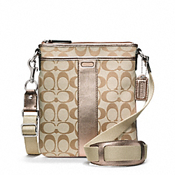 COACH F48639 Signature Swingpack SILVER/LIGHT KHAKI/ROSEGOLD