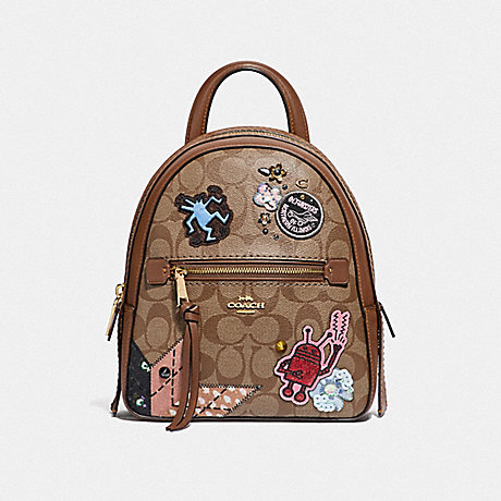 a6da07cc35d2 COACH F48642 KEITH HARING ANDI BACKPACK IN SIGNATURE CANVAS WITH PATCHES  KHAKI MULTI /IMITATION GOLD