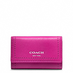 COACH F48661 Legacy Leather 6 Ring Key Case SILVER/BRIGHT MAGENTA