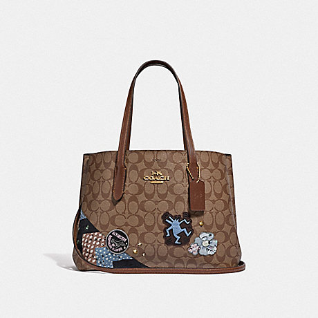 COACH F48722 KEITH HARING AVENUE CARRYALL IN SIGNATURE CANVAS WITH PATCHES<br>蔻驰基思*哈林大街包在签名画布补丁 卡其色多/仿金