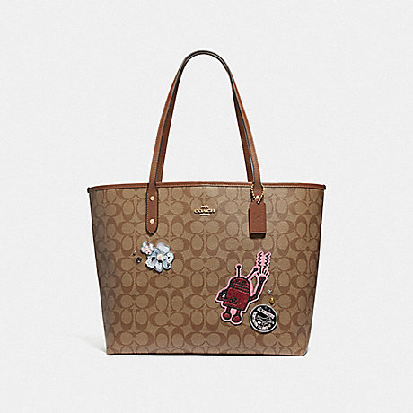 c50746a664ec COACH F48728 KEITH HARING TOTE IN SIGNATURE CANVAS WITH PATCHES KHAKI MULTI  /IMITATION GOLD