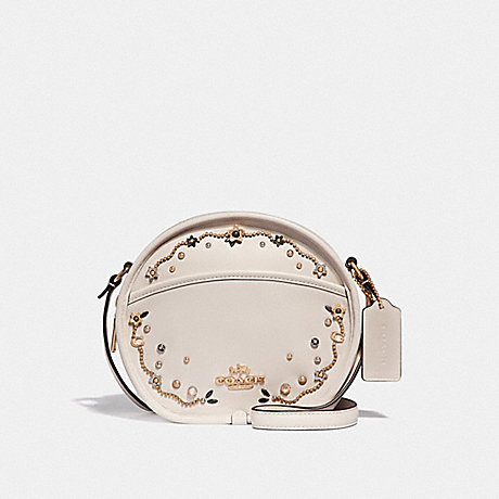 COACH F48732 CANTEEN CROSSBODY WITH STARDUST CRYSTAL RIVETS<br>蔻驰食堂包包用星尘结晶铆钉 粉笔多/仿金