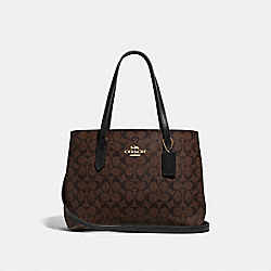 AVENUE CARRYALL IN SIGNATURE CANVAS - F48735 - BROWN/BLACK/IMITATION GOLD