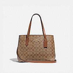 AVENUE CARRYALL IN SIGNATURE CANVAS - F48735 - KHAKI/SADDLE 2/IMITATION GOLD