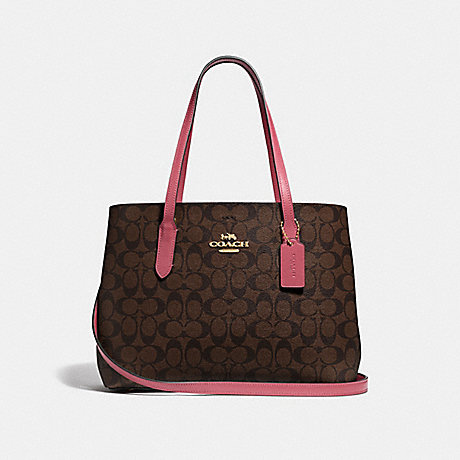 COACH F48735 AVENUE CARRYALL IN SIGNATURE CANVAS<br>蔻驰AVENUE包在签名画布 棕色草莓/仿金