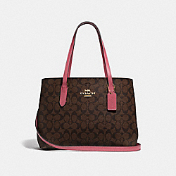 AVENUE CARRYALL IN SIGNATURE CANVAS - F48735 - BROWN/STRAWBERRY/IMITATION GOLD