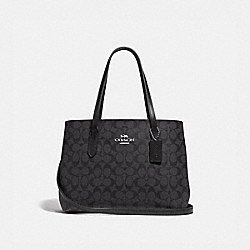 AVENUE CARRYALL IN SIGNATURE CANVAS - F48735 - SV/BLACK SMOKE/BLACK