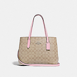 AVENUE CARRYALL IN SIGNATURE CANVAS - F48735 - LIGHT KHAKI/CARNATION/SILVER