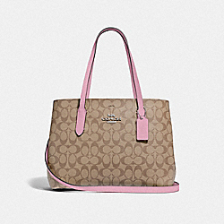 AVENUE CARRYALL IN SIGNATURE CANVAS - F48735 - TULIP/KHAKI/SILVER