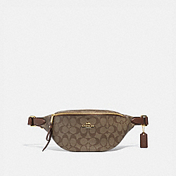BELT BAG IN SIGNATURE CANVAS - F48740 - KHAKI/SADDLE 2/IMITATION GOLD