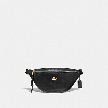 COACH F48741 BELT BAG IN SIGNATURE LEATHER<br>蔻驰带袋子签名皮革 黑/仿金