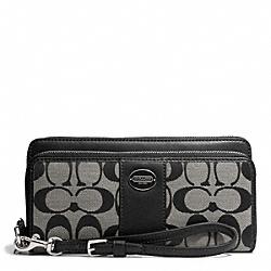 COACH F48748 Signature Fabric Double Zip Accordion Wallet SILVER/BLACK/WHITE/BLACK