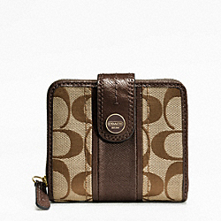COACH F48774 Signature Stripe Slim Medium Wallet BRASS/KHAKI/MAHOGANY