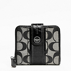 COACH F48774 Signature Stripe Slim Medium Wallet SILVER/BLACK/WHITE/BLACK