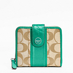COACH F48774 Signature Stripe Slim Medium Wallet SILVER/LT KHAKI/BRIGHT JADE