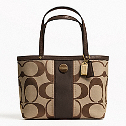 COACH F48798 - SIGNATURE STRIPE TOP HANDLE TOTE BRASS/KHAKI/MAHOGANY