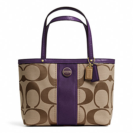 COACH f48798 SIGNATURE STRIPE TOP HANDLE TOTE BRASS/KHAKI/PURPLE
