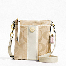 COACH F48806 Signature Stripe Swingpack BRASS/LIGHT KHAKI/WHITE