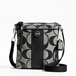 COACH F48806 - SIGNATURE STRIPE SWINGPACK SILVER/BLACK/WHITE/BLACK