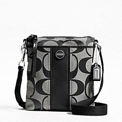 COACH F48806 Signature Stripe Swingpack SILVER/BLACK/WHITE/BLACK