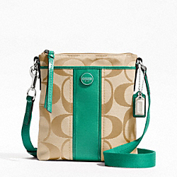 COACH F48806 - SIGNATURE STRIPE SWINGPACK SILVER/LIGHT KHAKI/BRIGHT JADE