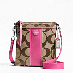 COACH F48806 - SIGNATURE STRIPE SWINGPACK SILVER/KHAKI/MULBERRY