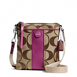COACH F48806 - SIGNATURE STRIPE SWINGPACK SILVER/KHAKI/PASSION BERRY
