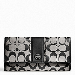 COACH F48810 Signature Stripe Checkbook Wallet